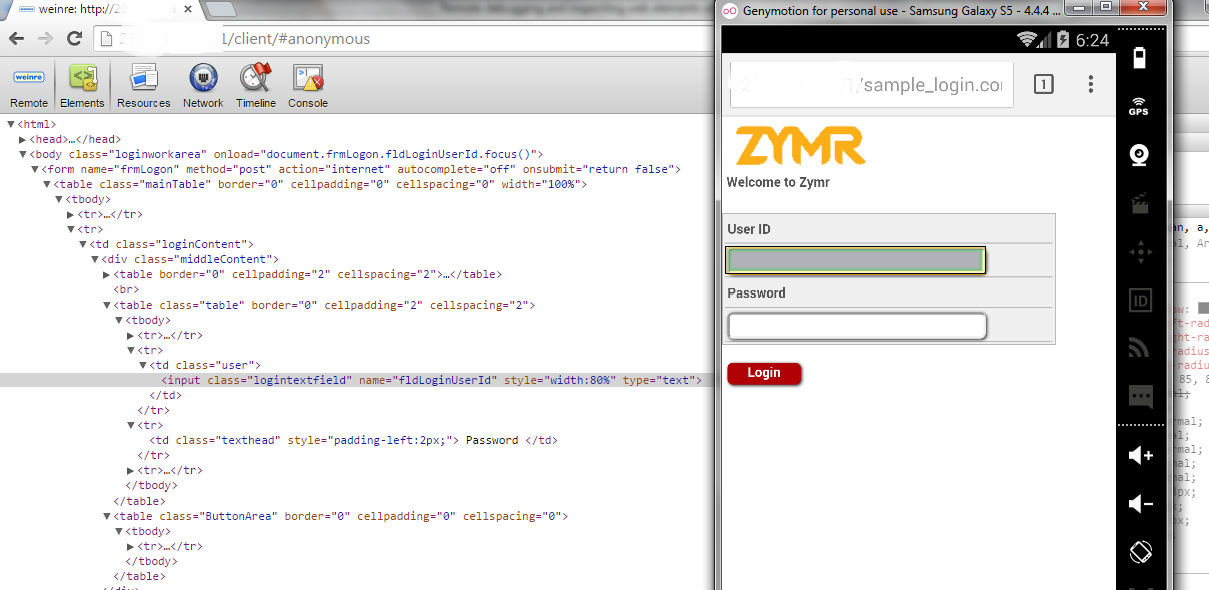 Zymr - Debugging using weinre