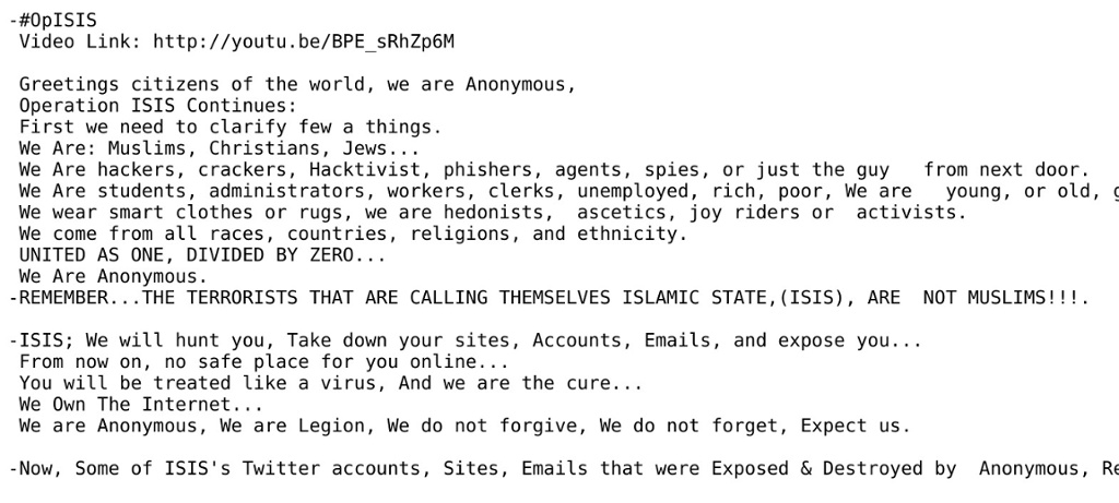 A messgage Anonymous sent to ISIS.