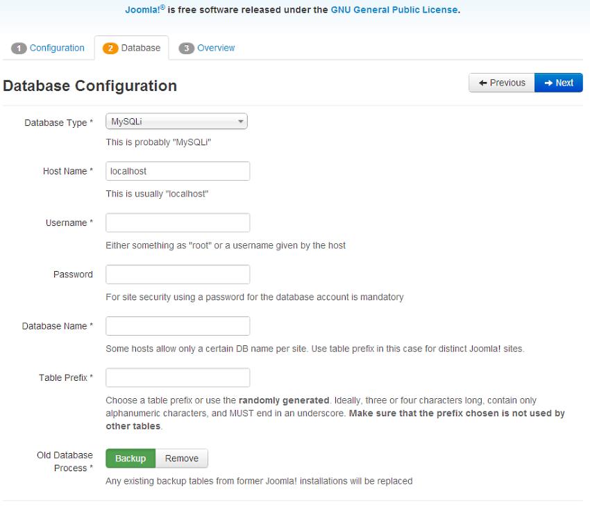 Joomla Database
