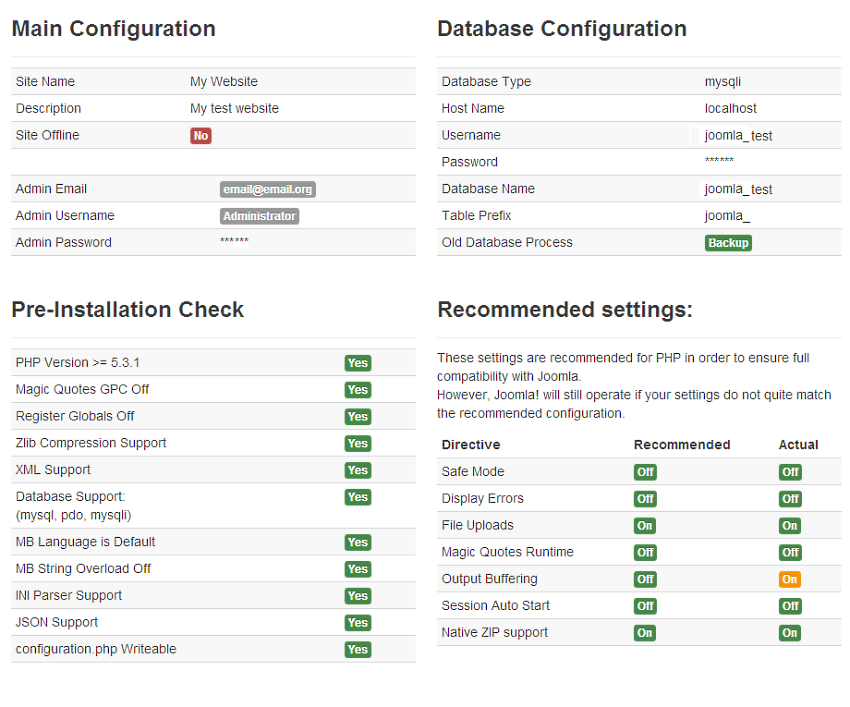 Joomla Configuration Check
